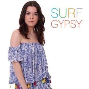 Surf Gypsy NWT blue off shoulders boho size M